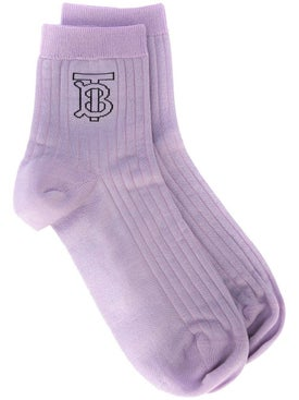 Burberry - Monogram Intarsia Socks Purple - Women