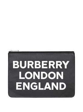 Burberry - Logo Print Leather Zip Pouch - Women