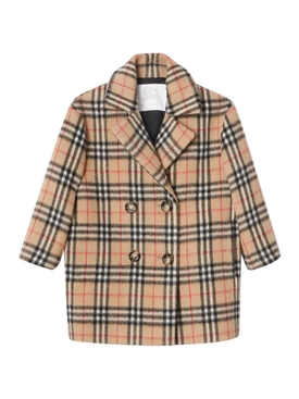 Kids check print coat