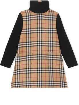 Kids contrasting check wool dress