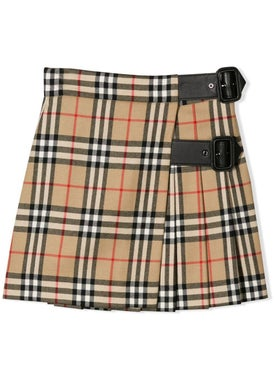 Burberry - Kids Buckled Check Wrap Skirt - Kids