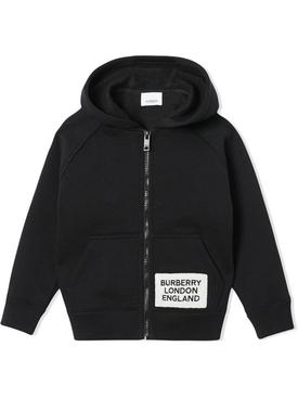 kids logo patch zip-up hoodie black