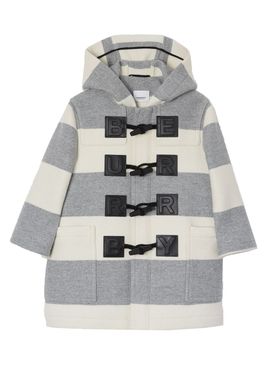 Kids Logo Detail Striped Wool Cashmere Blend Duffle Coat