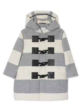 Burberry - Kids Logo Detail Striped Wool Cashmere Blend Duffle Coat - Kids