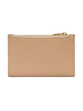Beige monogram motif leather wallet