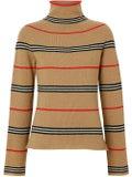 Burberry - Icon Stripe Cashmere Turtleneck Sweater - Tops
