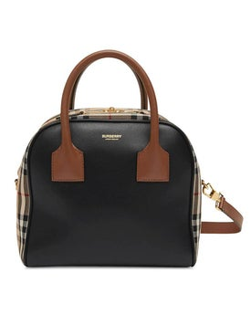 Burberry - Leather And Check Print Cube Bag Small - Women