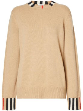 Burberry - Icon Stripe Trim Sweater - Women