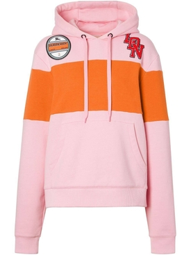 pink panelled logo graphic hoodie