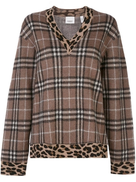 leopard print trim checkered sweater
