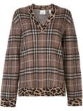 Burberry - Leopard Print Trim Checkered Sweater - Women