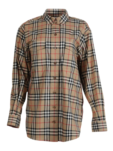 Burberry Iconic Beige Plaid Print Blouse