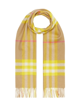Burberry - Yellow Check Print Cashmere Scarf - Women