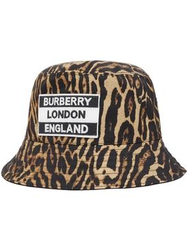 Logo leopard print bucket hat