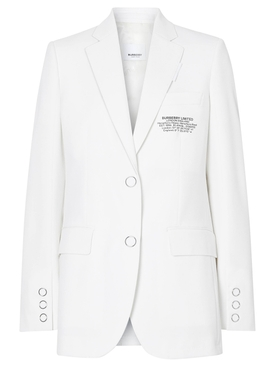 White Tailored Logo Blazer