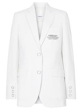 Burberry - White Tailored Logo Blazer - Women