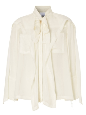Burberry - Ivory Ruffled Pussy Bow Blouse - Women