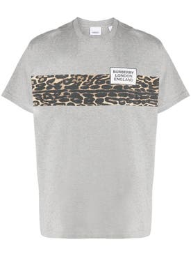 Burberry - Grey Leopard Print T-shirt - Men