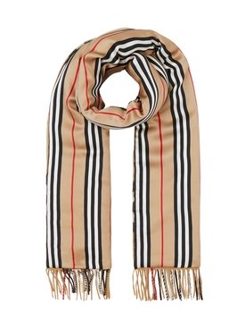 Burberry - Check And Icon Stripe Scarf - Women
