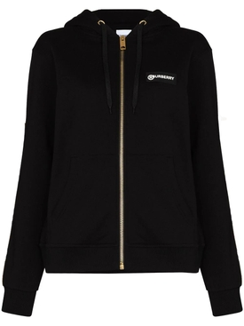 Black branded cotton hoodie