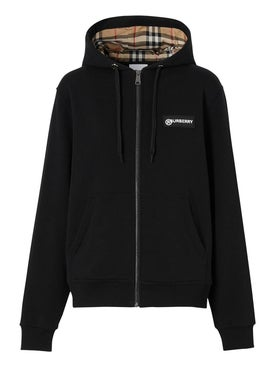 Burberry - Check Sleeve Zipped Hoodie - Women