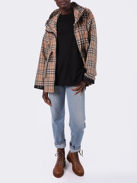 Black check-print detail t-shirt
