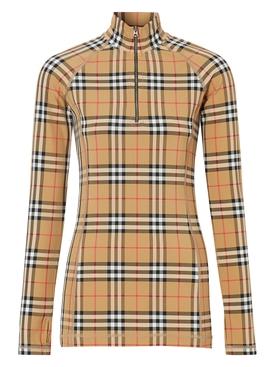 Vintage check pattern turtleneck top