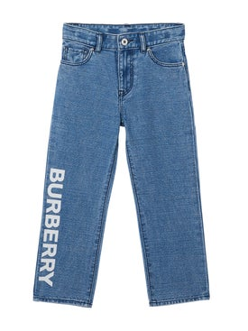 Burberry - Kids Logo Print Blue Jeans - Bottoms