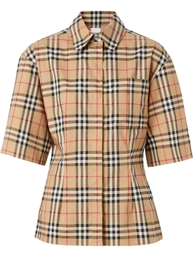 Short sleeve vintage check cotton shirt
