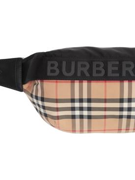 Check Print Logo Belt Bag