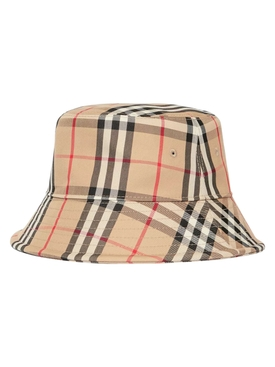 Beige check print bucket hat