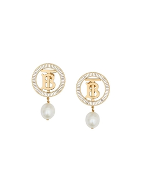 Pearl Embellished Logo Clip-on Earrings