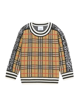 Kids check print sweater