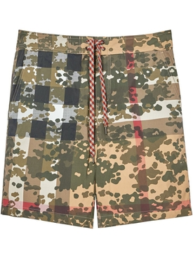 Breton camo check swim shorts