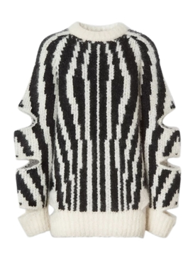 Zebra print cut-out sweater