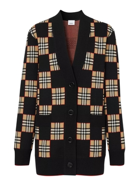 Beige and black check print cardigan