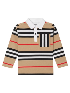 Kids Beige Stripe Print Polo Shirt