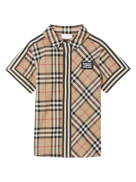 Kids Beige Check Print Shirt