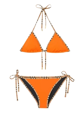 Orange Check Print Trim Bikini