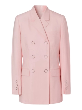 soft pink double-breasted blazer