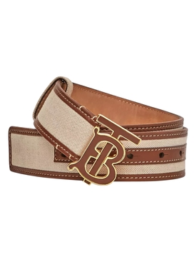 TB leather print logo belt
