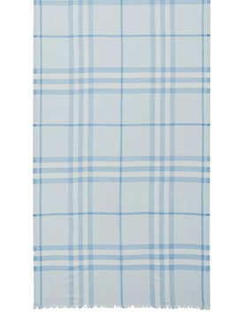 Light blue check print scarf
