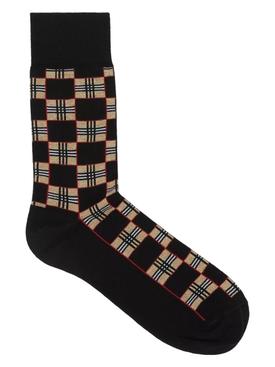 Black checkered archive print socks