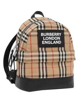 Kids beige check print backpack