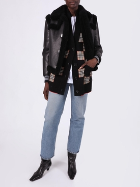 Black and Grey Leather Shearling Jacket