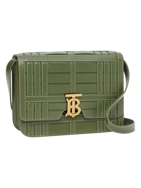 Medium Woven Leather TB Bag, Sage Green