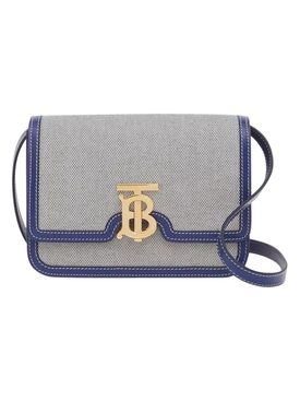 Canvas and leather two tone bag, ink navy
