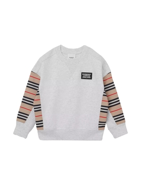 Kids Grey Iconic print patch jumper