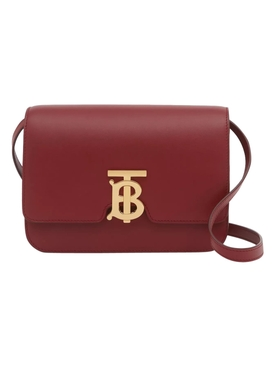 Medium Leather TB Bag, Dark Crimson