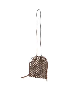 Fishnet drawstring shoulder bag